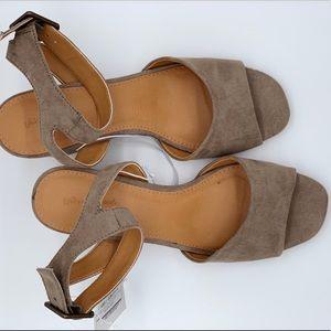 Grey open toe heels